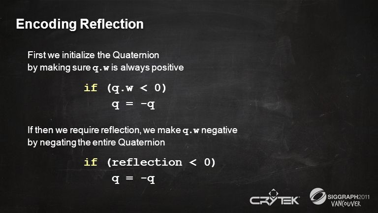 Encoding Reflection First we initialize the Quaternion by making sure q.w is always positive if (q.w < 0) q = -q If then we require reflection, we mak