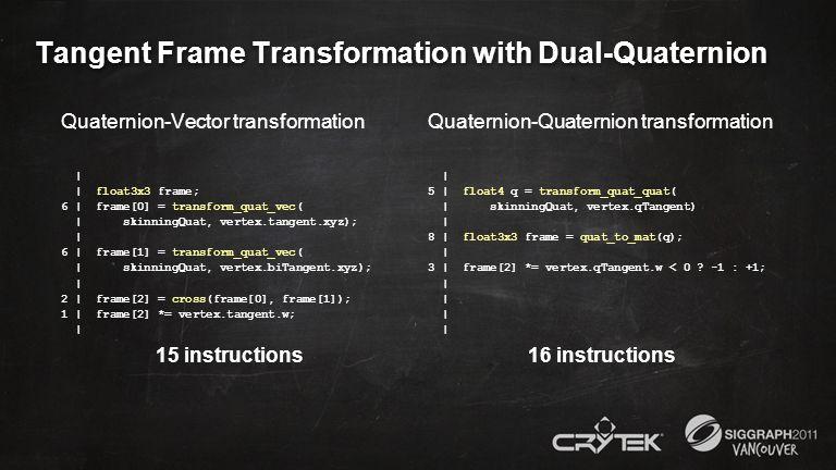 Tangent Frame Transformation with Dual-Quaternion Quaternion-Vector transformation | | float3x3 frame; 6 | frame[0] = transform_quat_vec( | skinningQu