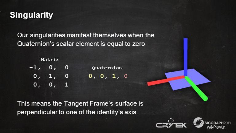 Singularity Our singularities manifest themselves when the Quaternions scalar element is equal to zero Matrix -1, 0, 0 Quaternion 0, -1, 0 0, 0, 1, 0