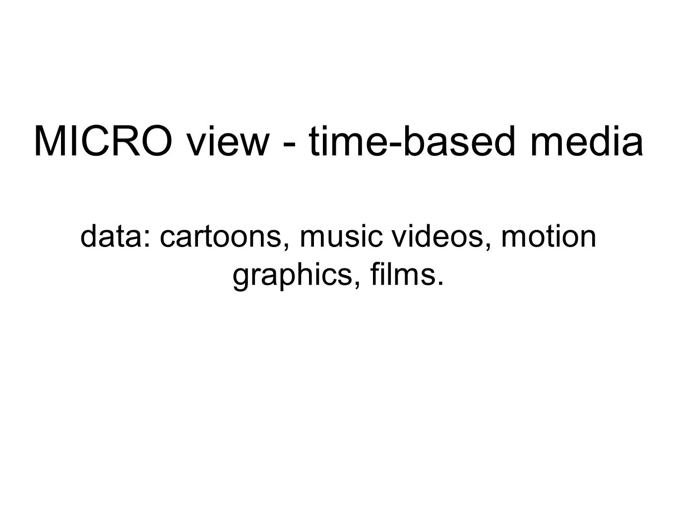 MICRO view - time-based media data: cartoons, music videos, motion graphics, films.