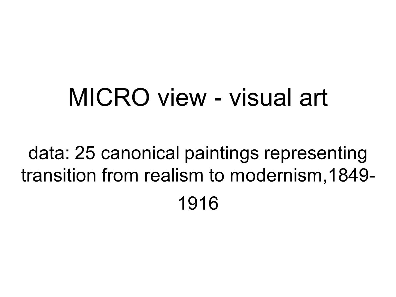 MICRO view - visual art data: 25 canonical paintings representing transition from realism to modernism,1849- 1916