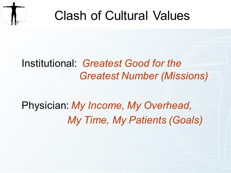 Institutional: Greatest Good for the Greatest Number (Missions) Physician: My Income, My Overhead, My Time, My Patients (Goals) Clash of Cultural Values
