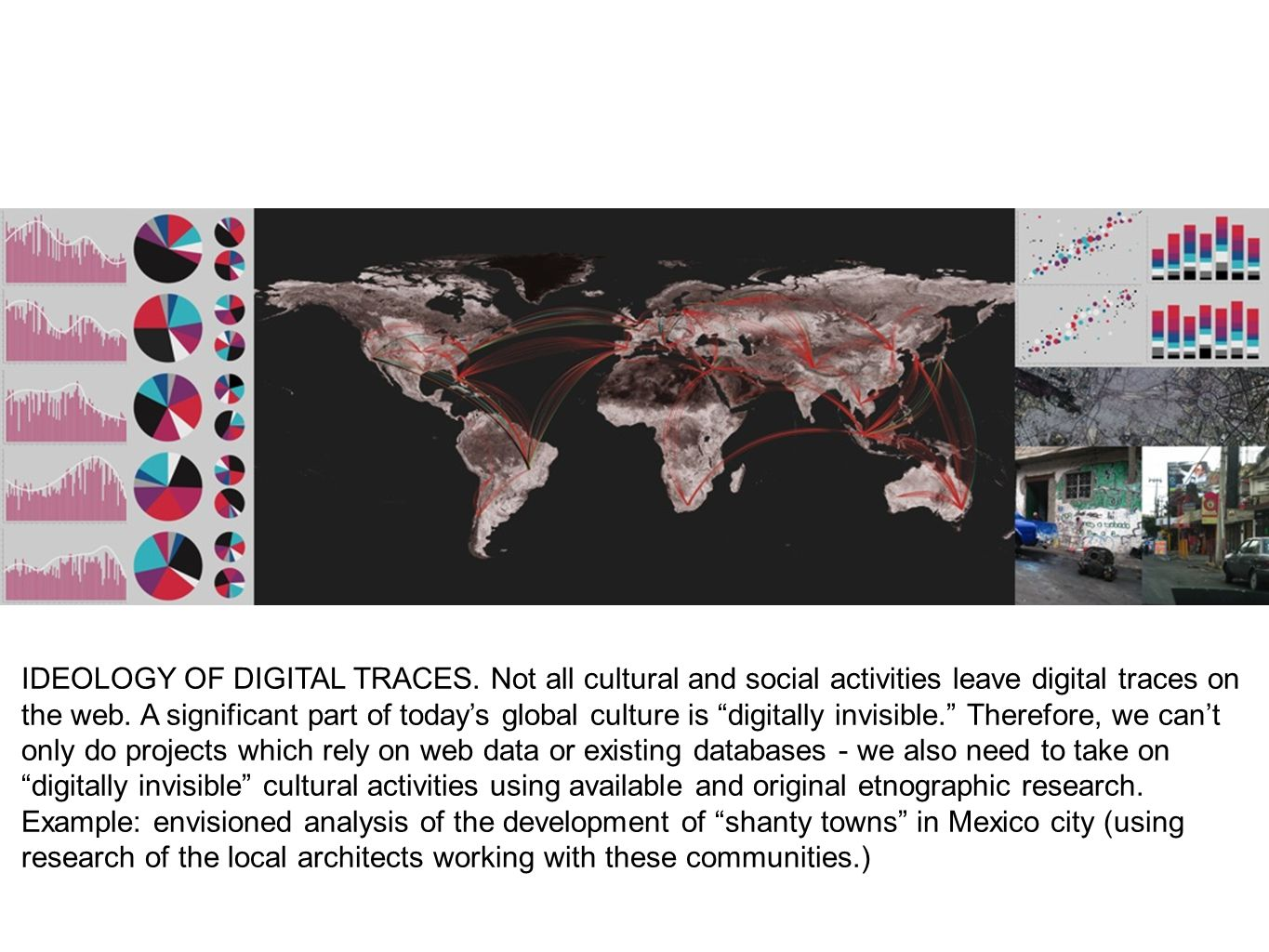 IDEOLOGY OF DIGITAL TRACES. Not all cultural and social activities leave digital traces on the web. A significant part of todays global culture is dig