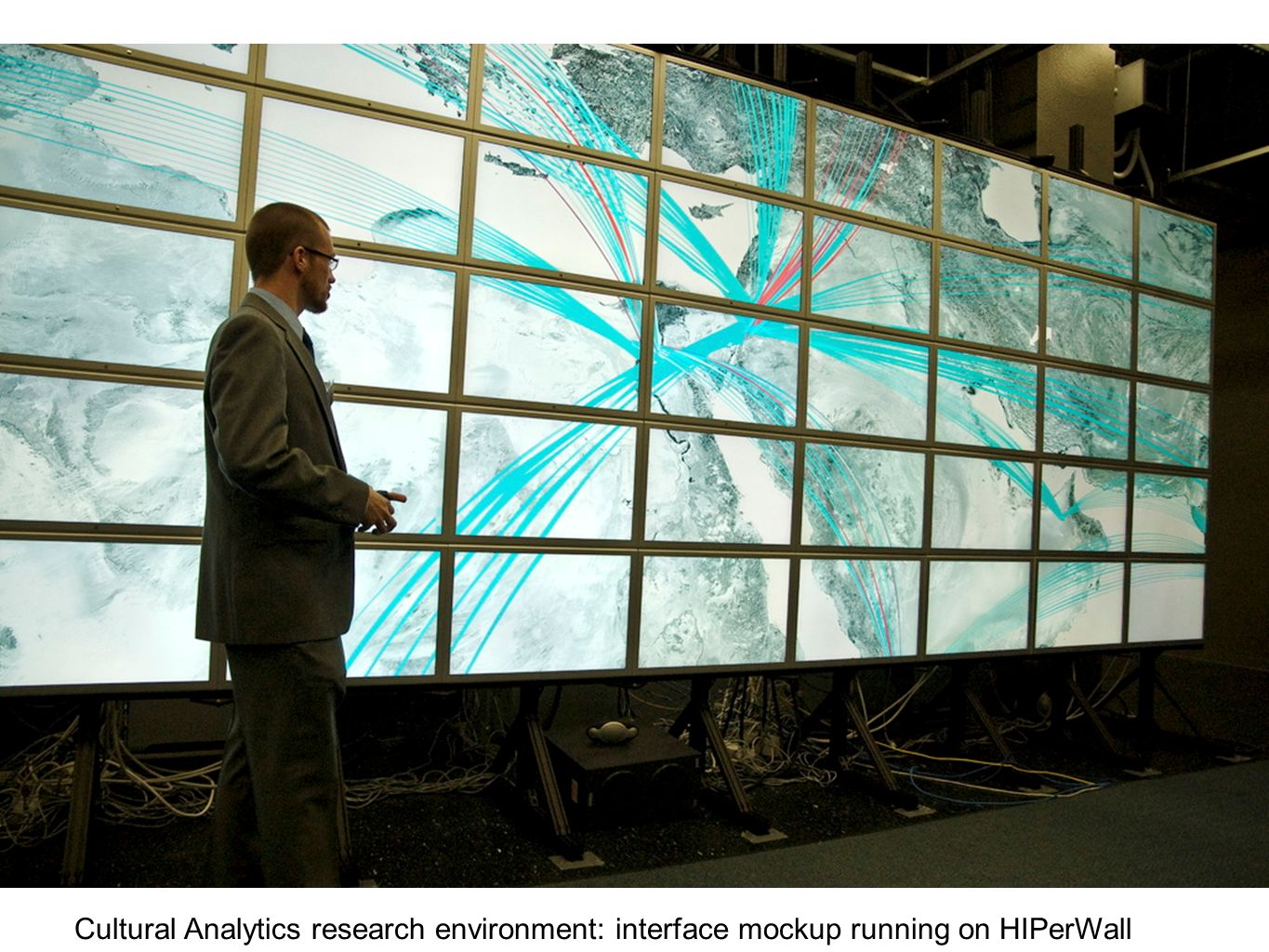 Cultural Analytics research environment: interface mockup running on HIPerWall