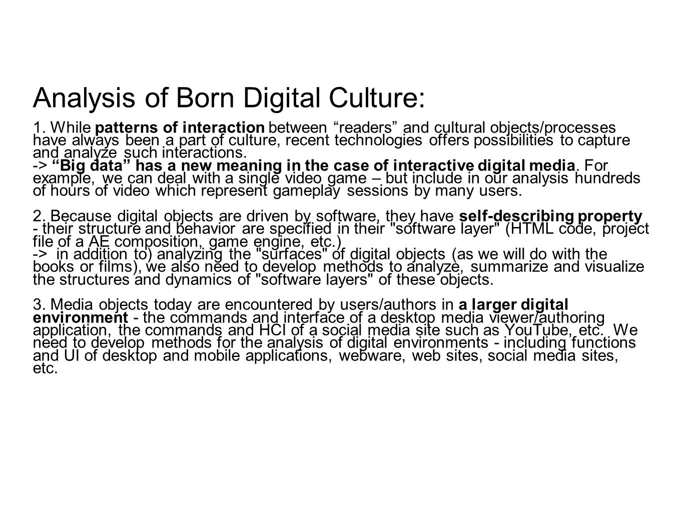 Analysis of Born Digital Culture: 1.