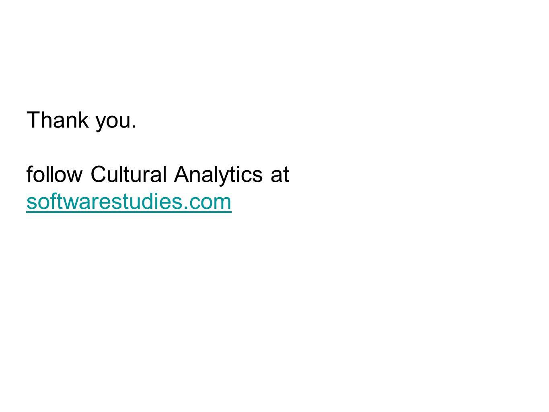 Thank you. follow Cultural Analytics at softwarestudies.com softwarestudies.com