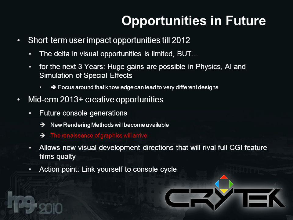 Short-term user impact opportunities till 2012 The delta in visual opportunities is limited, BUT...