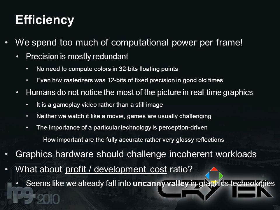 We spend too much of computational power per frame!We spend too much of computational power per frame.