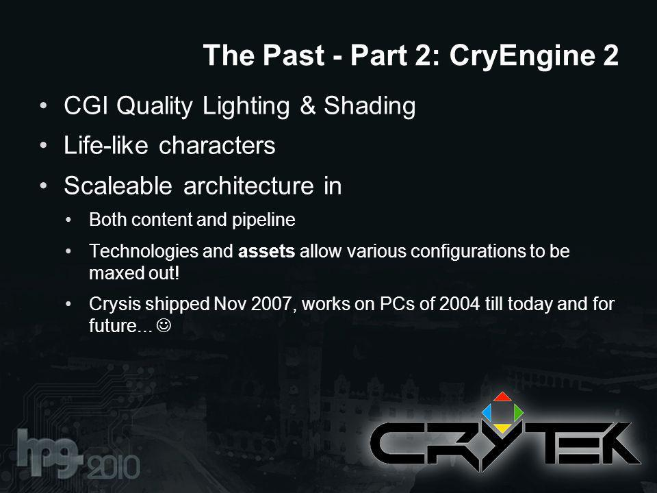 CGI Quality Lighting & Shading Life-like characters Scaleable architecture in Both content and pipeline Technologies and assets allow various configurations to be maxed out.