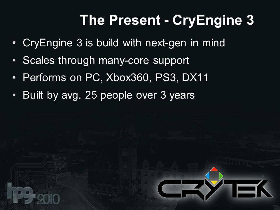 CryEngine 3 is build with next-gen in mind Scales through many-core support Performs on PC, Xbox360, PS3, DX11 Built by avg.