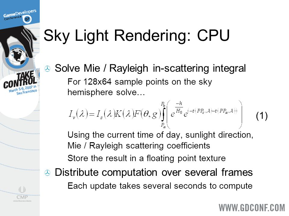Solve Mie / Rayleigh in-scattering integral For 128x64 sample points on the sky hemisphere solve… Using the current time of day, sunlight direction, M