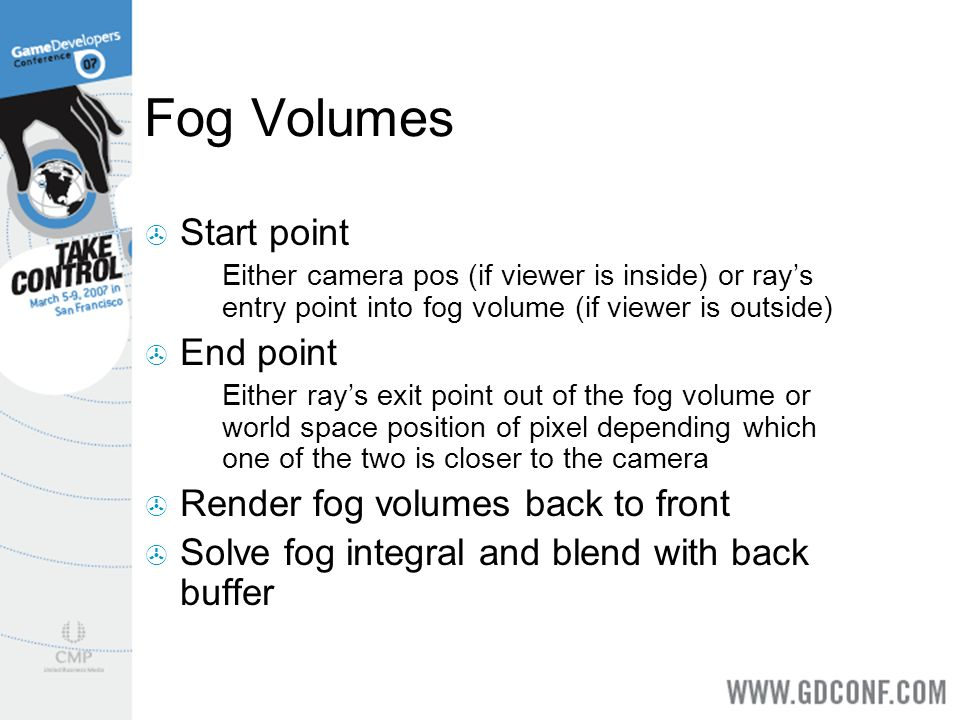 Fog Volumes Start point Either camera pos (if viewer is inside) or rays entry point into fog volume (if viewer is outside) End point Either rays exit