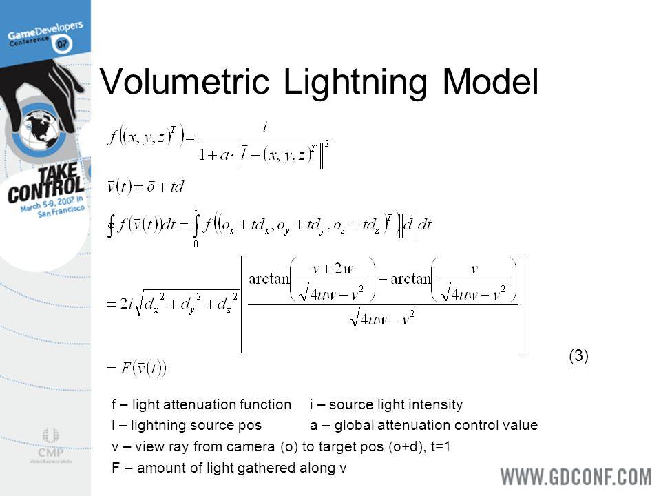 Volumetric Lightning Model f – light attenuation functioni – source light intensity l – lightning source posa – global attenuation control value v – v
