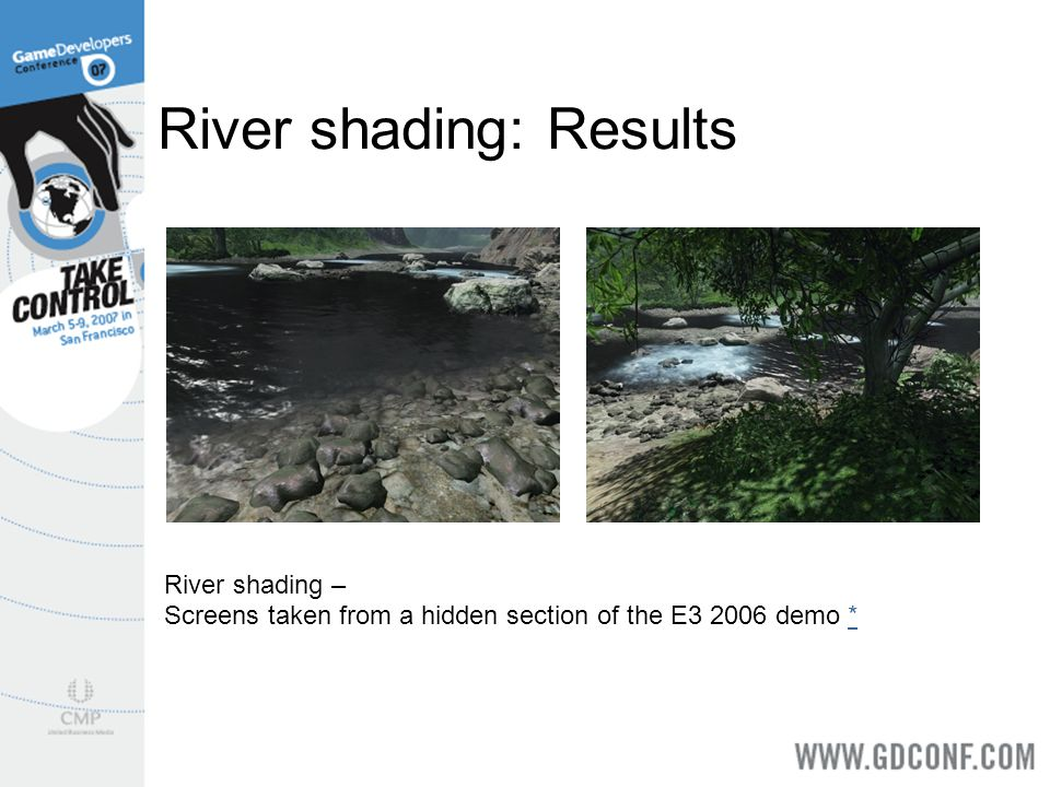 River shading: Results River shading – Screens taken from a hidden section of the E3 2006 demo **