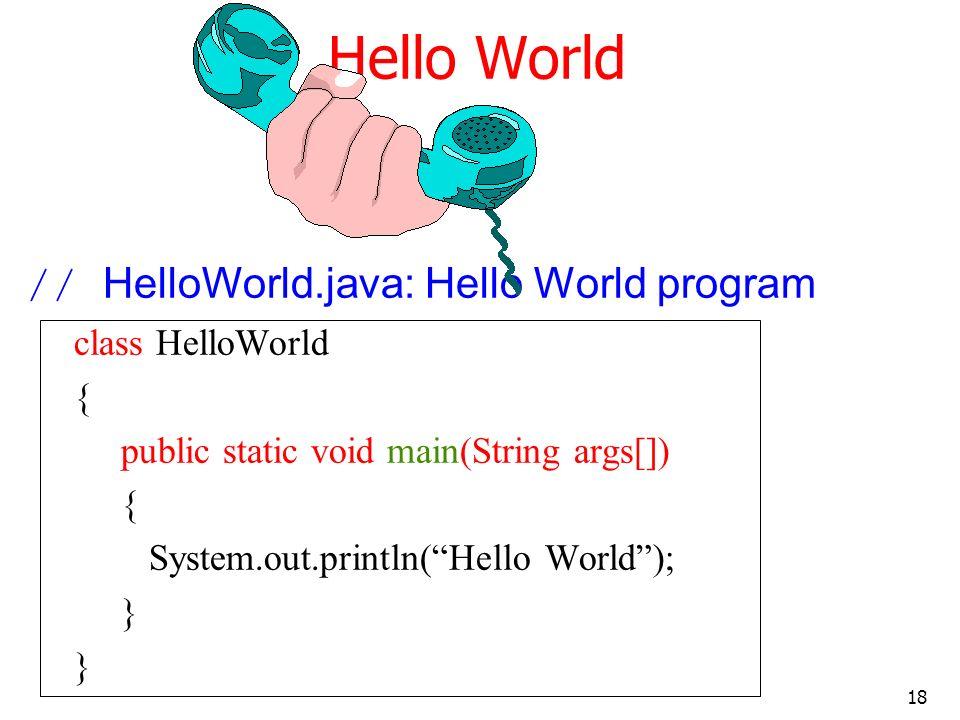 18 Hello World // HelloWorld.java: Hello World program class HelloWorld { public static void main(String args[]) { System.out.println(Hello World); }