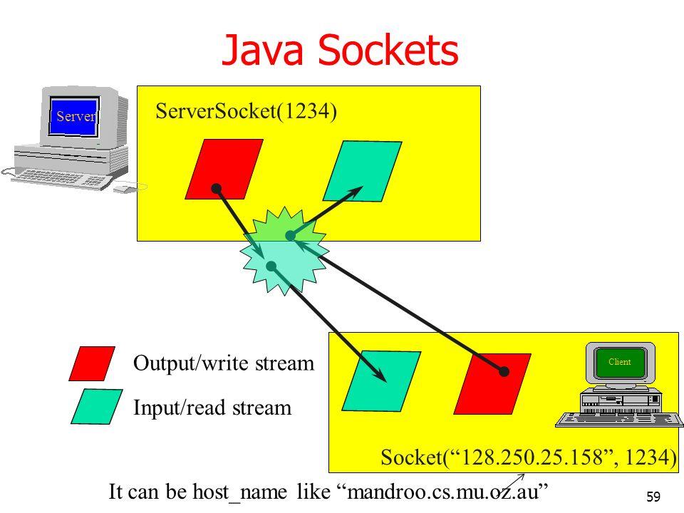 59 Java Sockets ServerSocket(1234) Socket(128.250.25.158, 1234) Output/write stream Input/read stream It can be host_name like mandroo.cs.mu.oz.au Cli