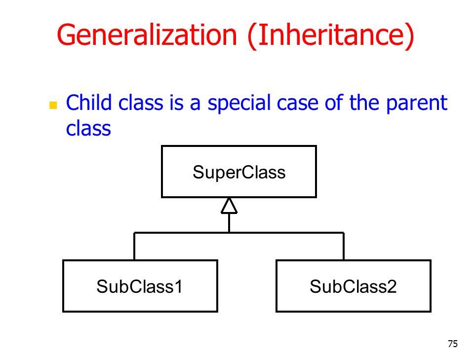 75 Generalization (Inheritance) Child class is a special case of the parent class SuperClass SubClass1SubClass2