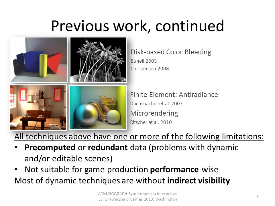 Previous work, continued ACM SIGGRAPH Symposium on Interactive 3D Graphics and Games 2010, Washington 5 Disk-based Color Bleeding Bunell 2005 Christen