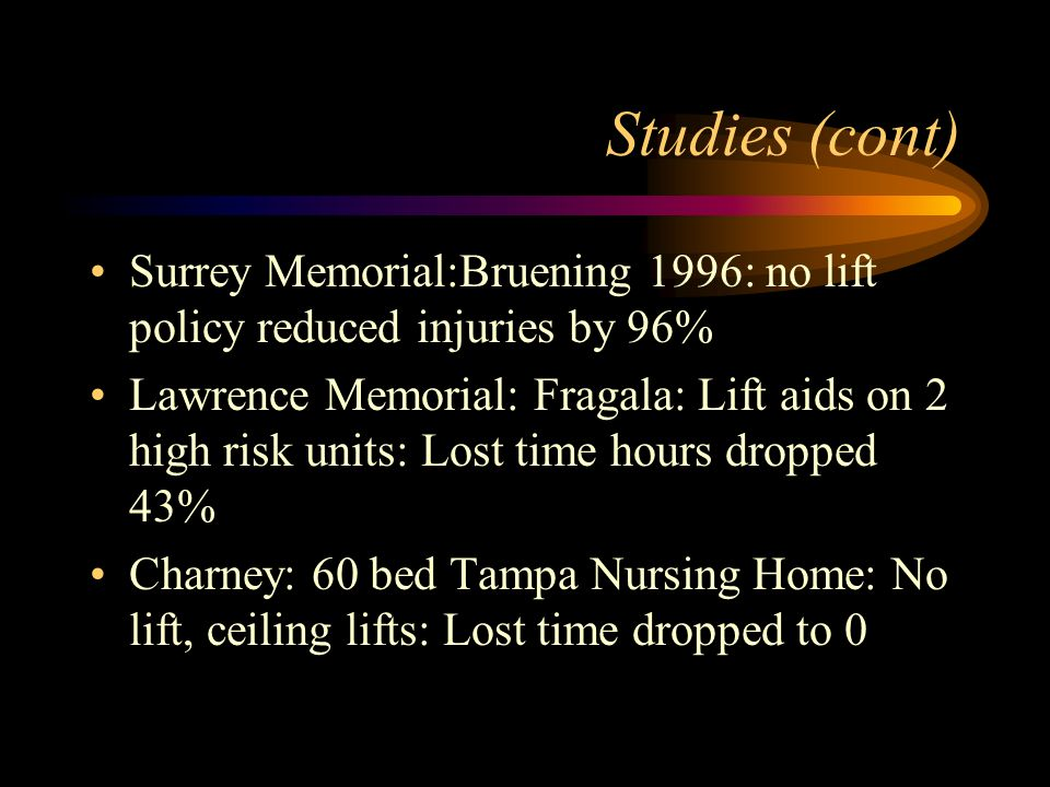 Studies (cont) Surrey Memorial:Bruening 1996: no lift policy reduced injuries by 96% Lawrence Memorial: Fragala: Lift aids on 2 high risk units: Lost