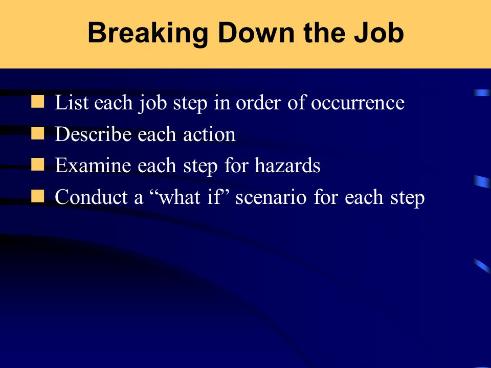 Breaking Down the Job List each job step in order of occurrence Describe each action Examine each step for hazards Conduct a what if scenario for each