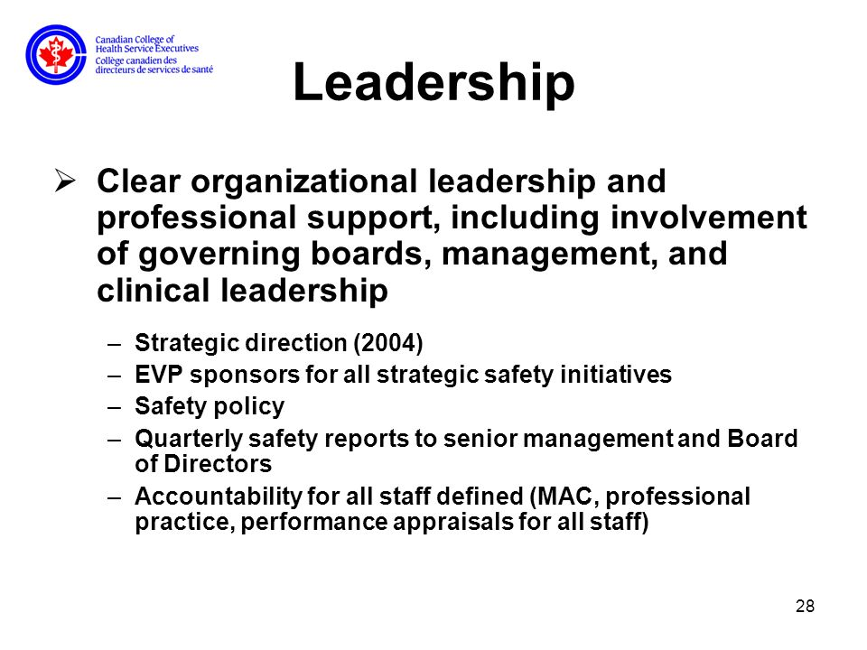 28 Leadership Clear organizational leadership and professional support, including involvement of governing boards, management, and clinical leadership –Strategic direction (2004) –EVP sponsors for all strategic safety initiatives –Safety policy –Quarterly safety reports to senior management and Board of Directors –Accountability for all staff defined (MAC, professional practice, performance appraisals for all staff)