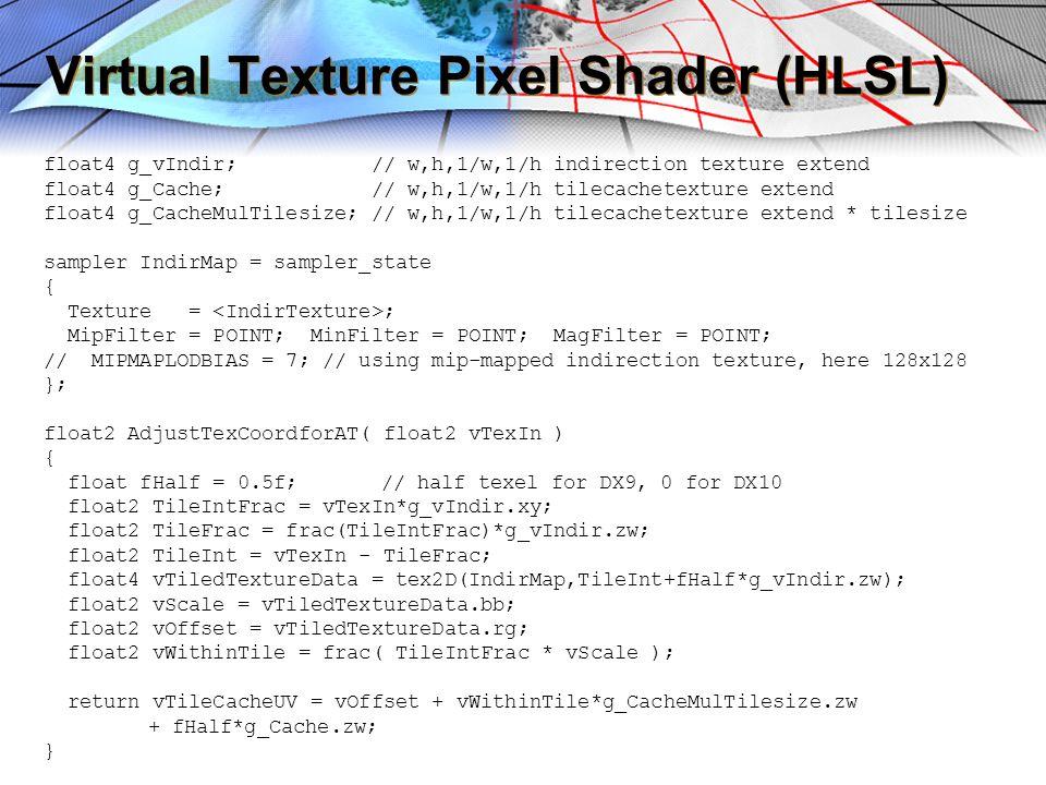 Virtual Texture Pixel Shader (HLSL) float4 g_vIndir; // w,h,1/w,1/h indirection texture extend float4 g_Cache; // w,h,1/w,1/h tilecachetexture extend