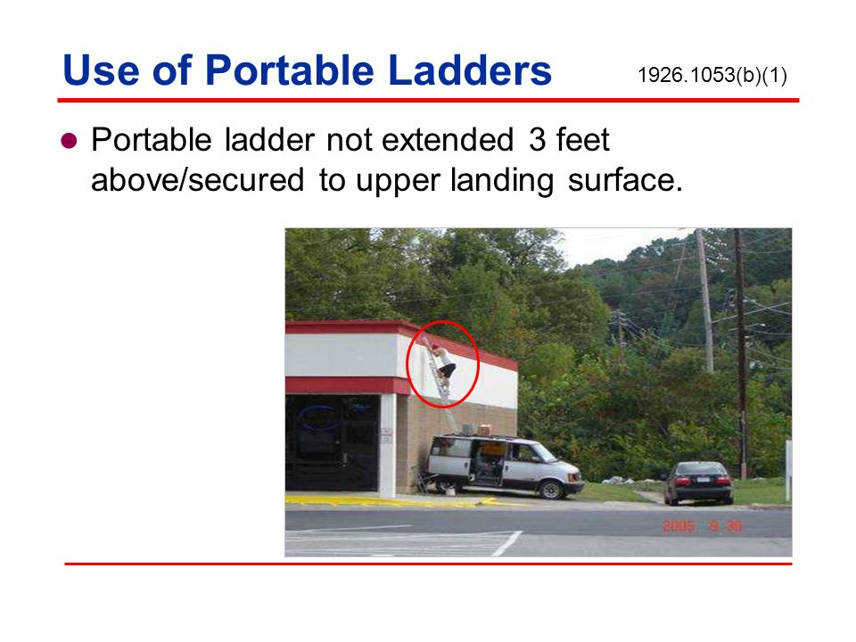 Portable ladder not extended 3 feet above/secured to upper landing surface. 1926.1053(b)(1)
