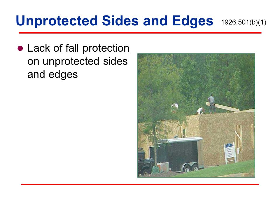 Lack of fall protection on unprotected sides and edges Unprotected Sides and Edges 1926.501(b)(1)