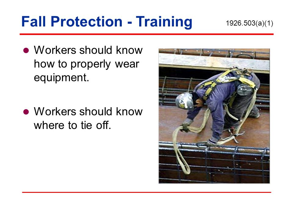 Workers should know how to properly wear equipment. Workers should know where to tie off. Fall Protection - Training