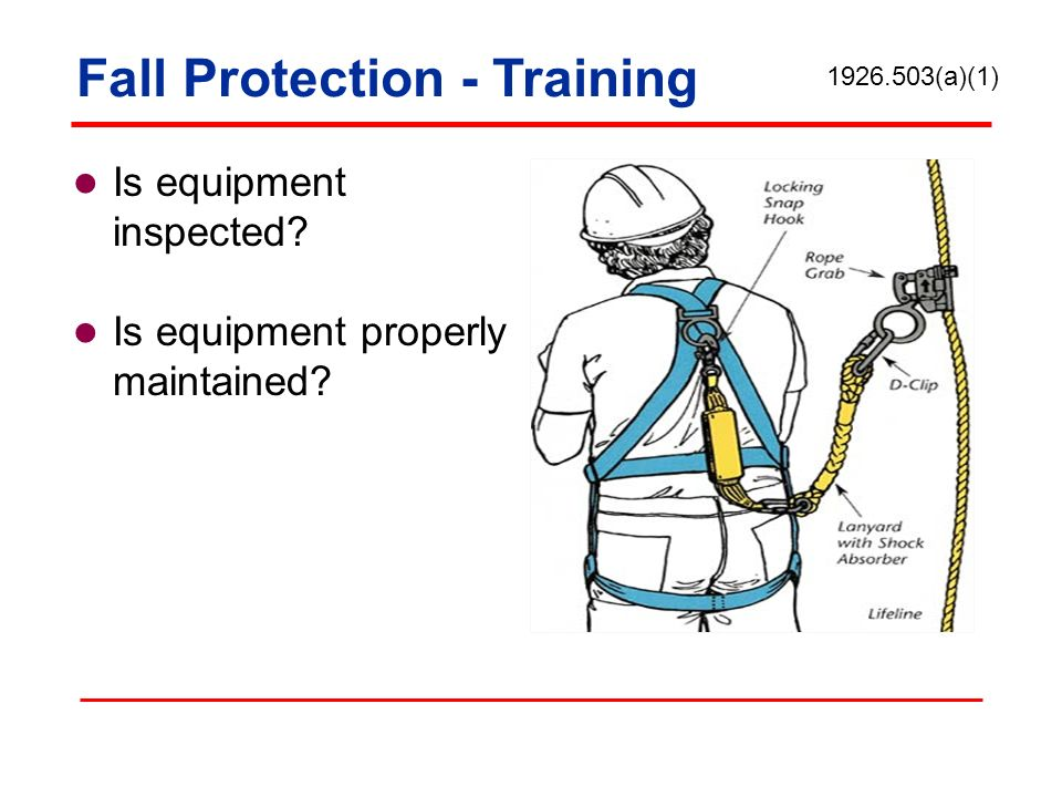 Is equipment inspected? Is equipment properly maintained? 1926.503(a)(1) Fall Protection - Training