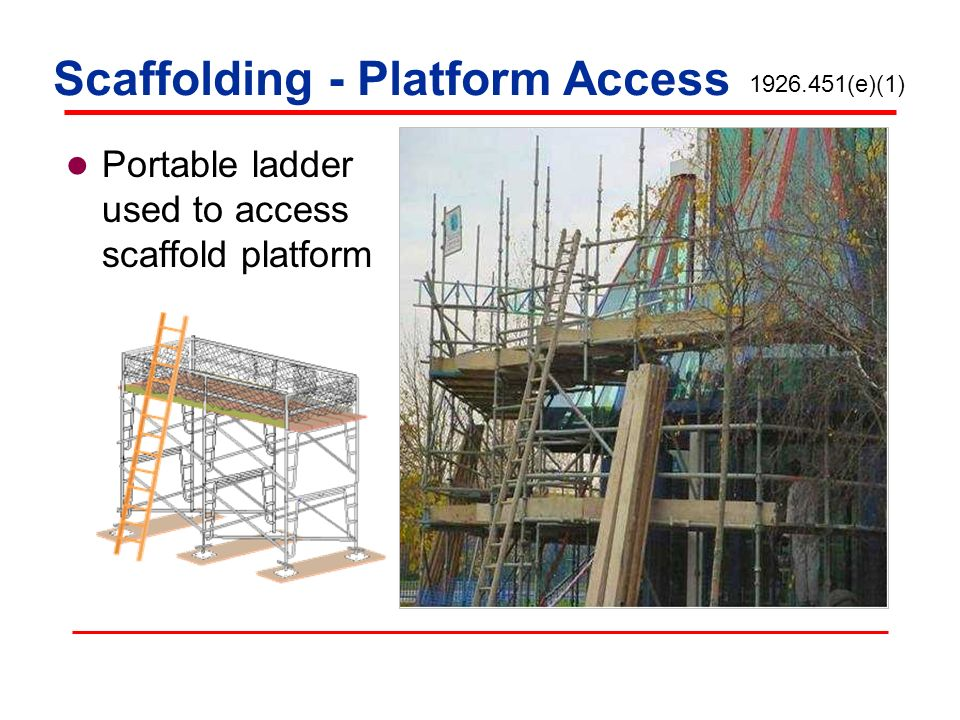 Portable ladder used to access scaffold platform 1926.451(e)(1) Scaffolding - Platform Access