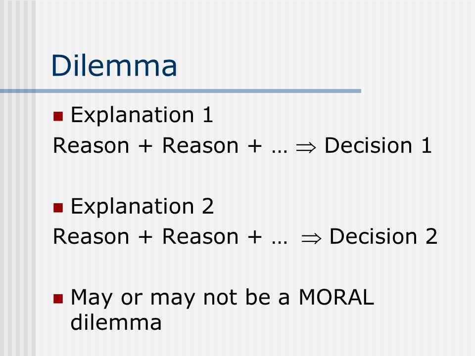 Dilemma Explanation 1 Reason + Reason + … Decision 1 Explanation 2 Reason + Reason + … Decision 2 May or may not be a MORAL dilemma