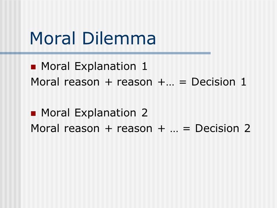 Moral Dilemma Moral Explanation 1 Moral reason + reason +… = Decision 1 Moral Explanation 2 Moral reason + reason + … = Decision 2