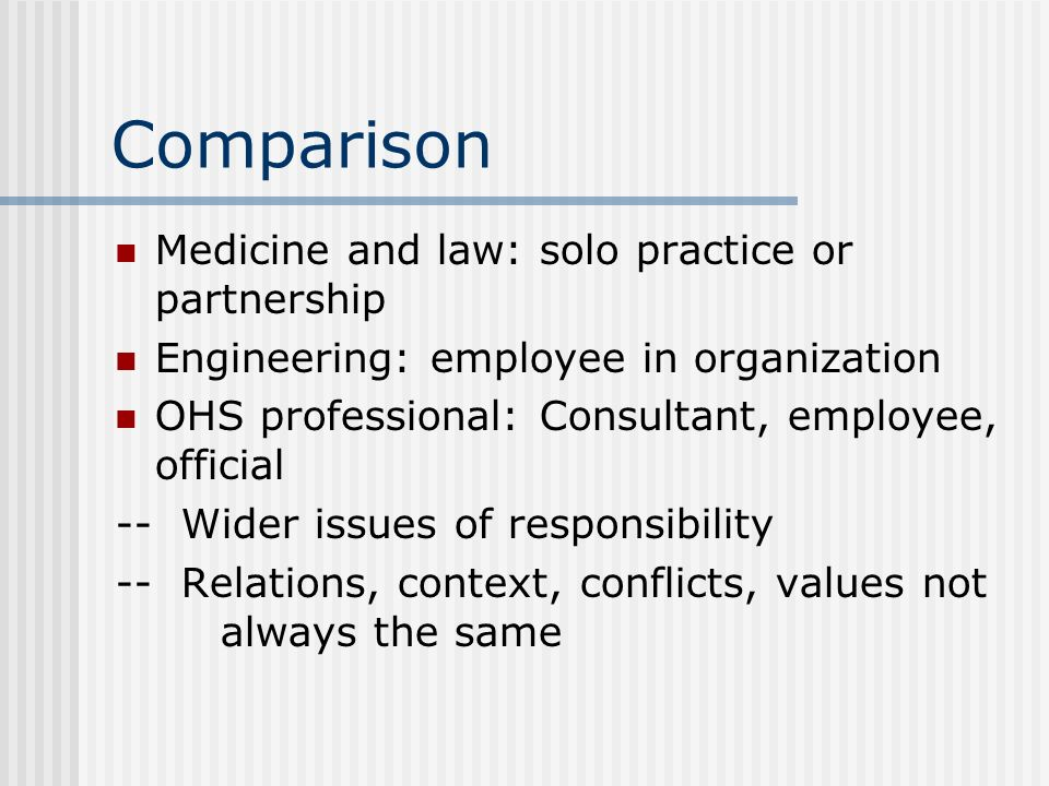 Comparison Medicine and law: solo practice or partnership Engineering: employee in organization OHS professional: Consultant, employee, official -- Wi
