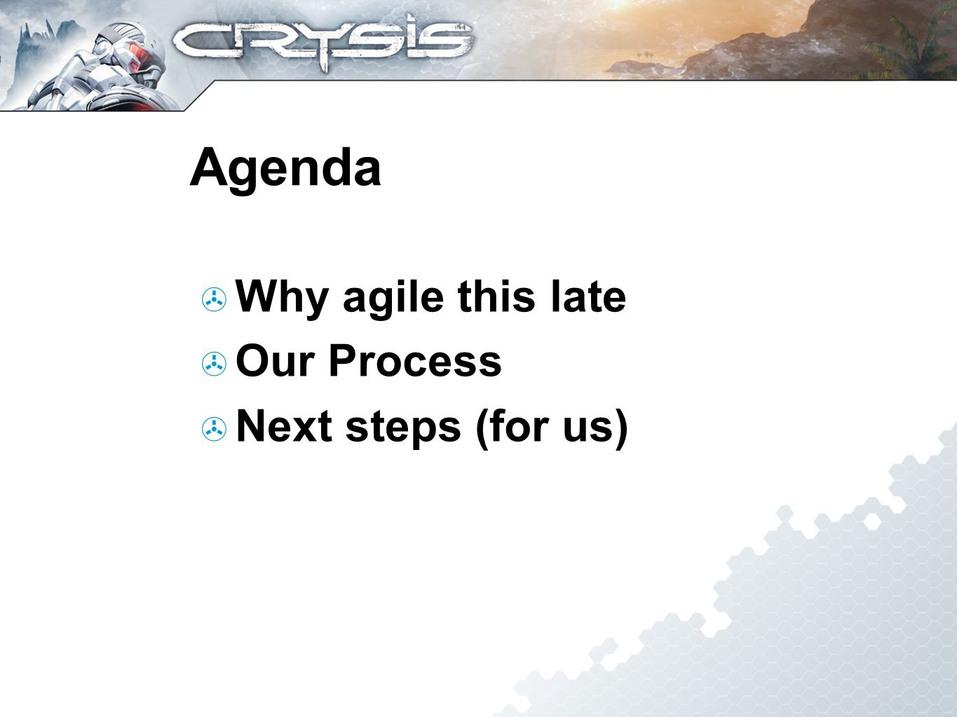 Agenda Why agile this late Our Process Next steps (for us)