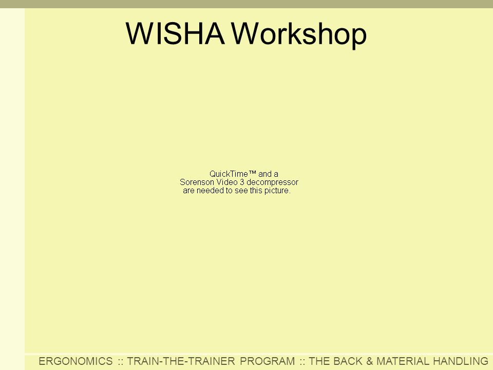 ERGONOMICS :: TRAIN-THE-TRAINER PROGRAM :: THE BACK & MATERIAL HANDLING WISHA Workshop