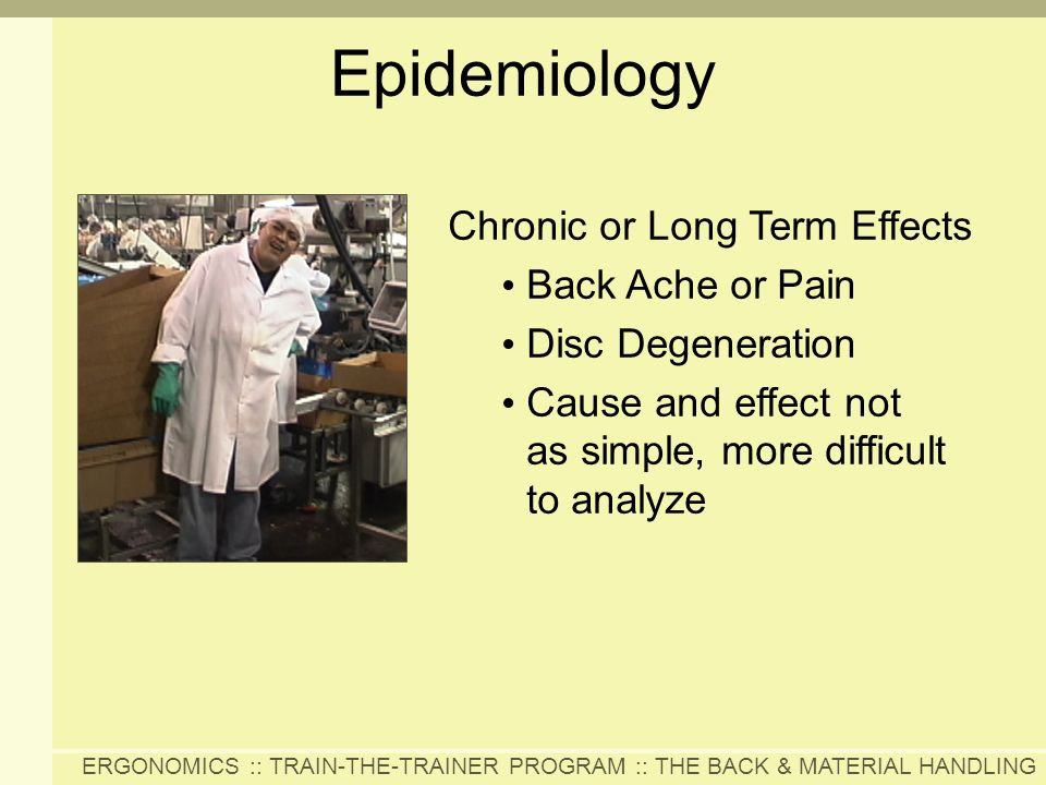 ERGONOMICS :: TRAIN-THE-TRAINER PROGRAM :: THE BACK & MATERIAL HANDLING Chronic or Long Term Effects Back Ache or Pain Disc Degeneration Cause and eff