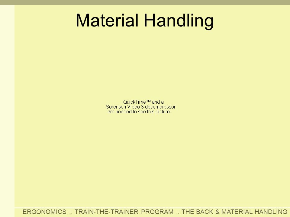 ERGONOMICS :: TRAIN-THE-TRAINER PROGRAM :: THE BACK & MATERIAL HANDLING Material Handling