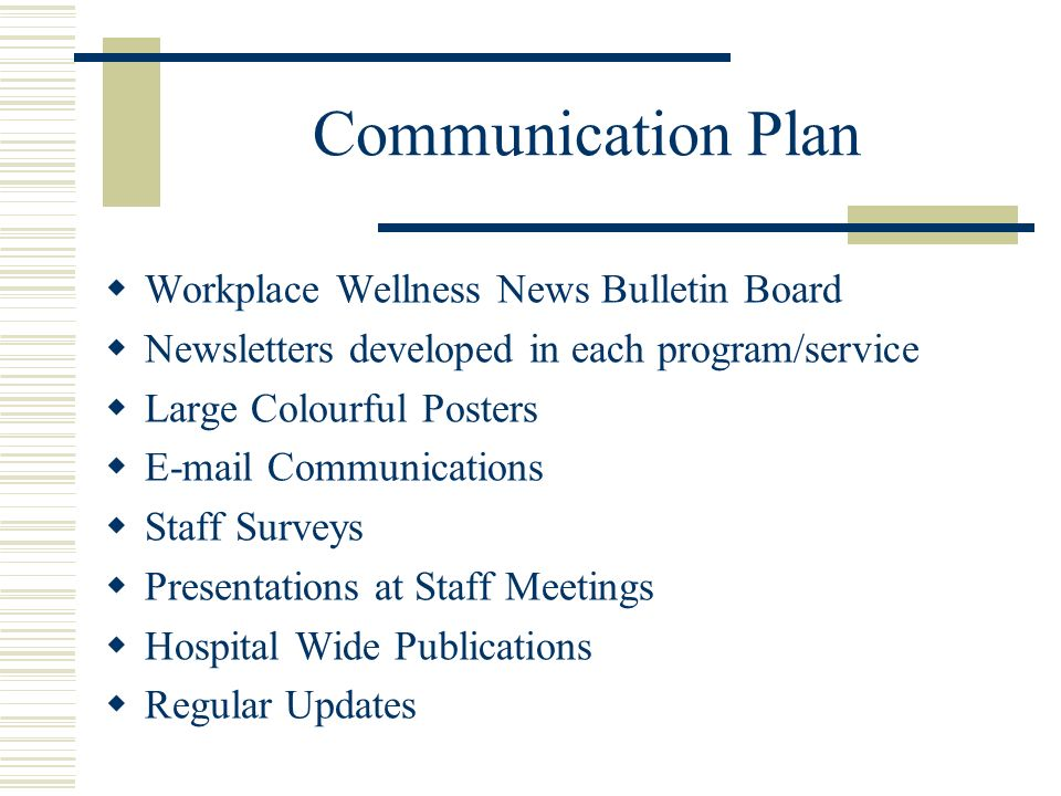 Communication Plan Workplace Wellness News Bulletin Board Newsletters developed in each program/service Large Colourful Posters E-mail Communications Staff Surveys Presentations at Staff Meetings Hospital Wide Publications Regular Updates
