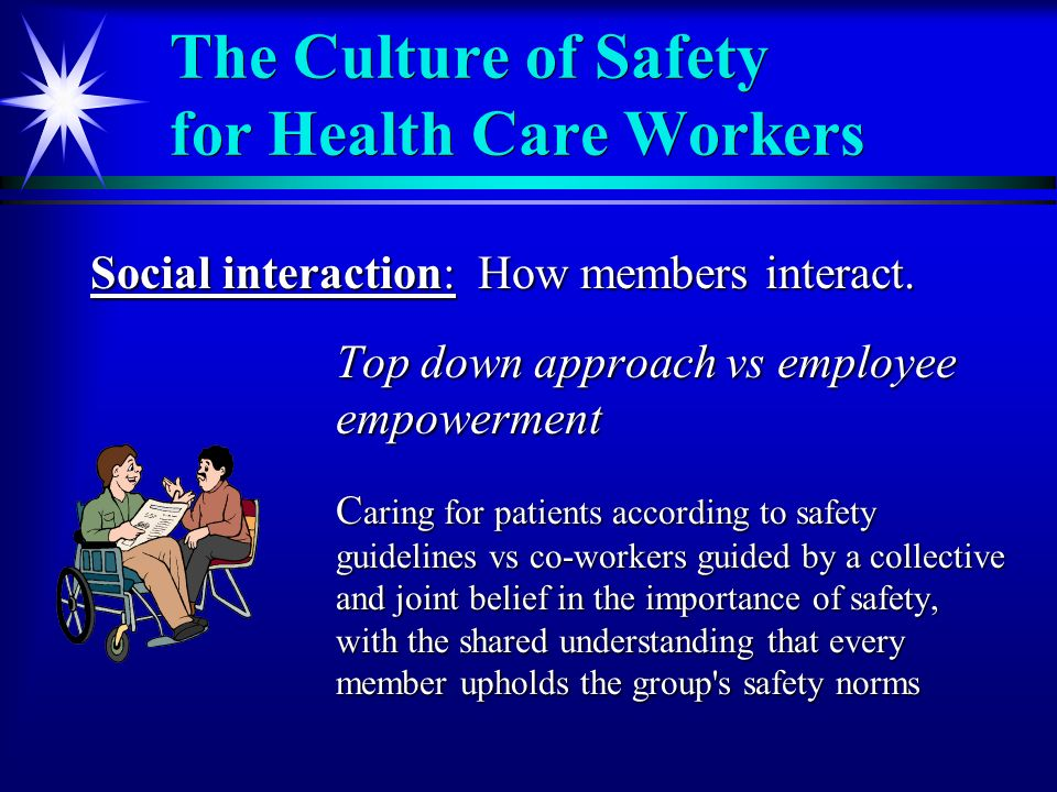 The Culture of Safety for Health Care Workers Social interaction: How members interact.
