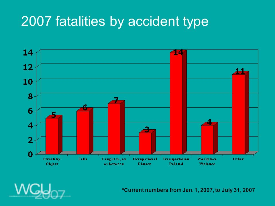 2007 fatalities by accident type *Current numbers from Jan. 1, 2007, to July 31, 2007