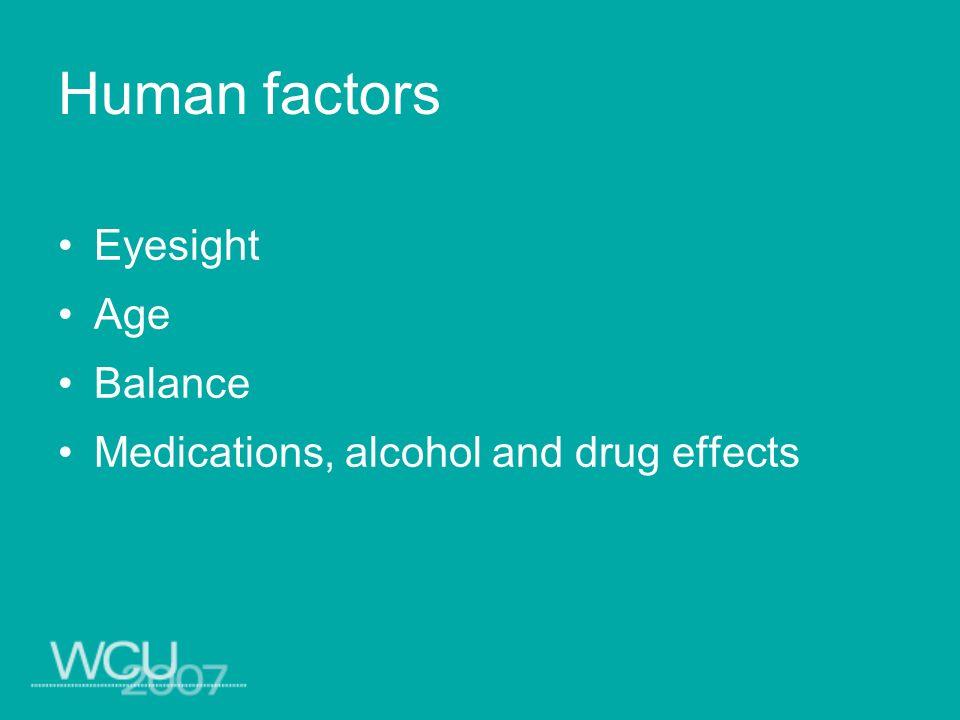 Eyesight Age Balance Medications, alcohol and drug effects Human factors