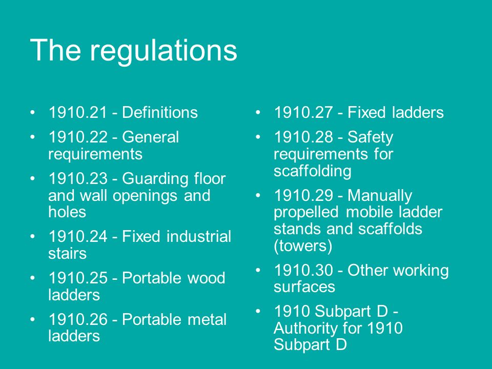 Frequently cited violations Failure to protect workers from falls of 6 feet or more off unprotected sides or edges, e.g.