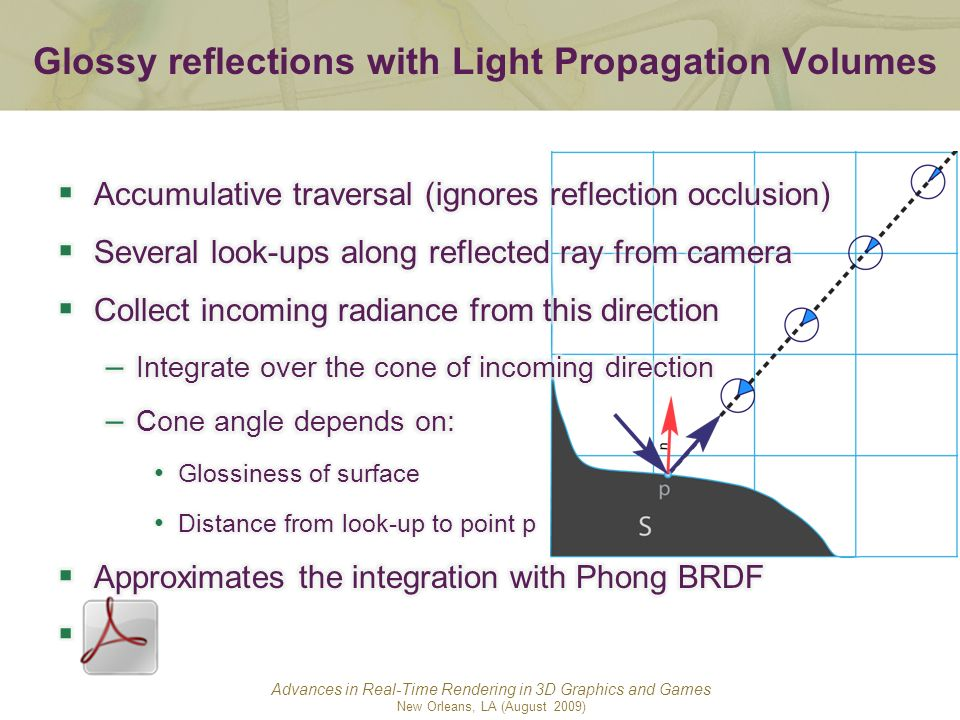 Advances in Real-Time Rendering in 3D Graphics and Games New Orleans, LA (August 2009) Glossy reflections with Light Propagation Volumes