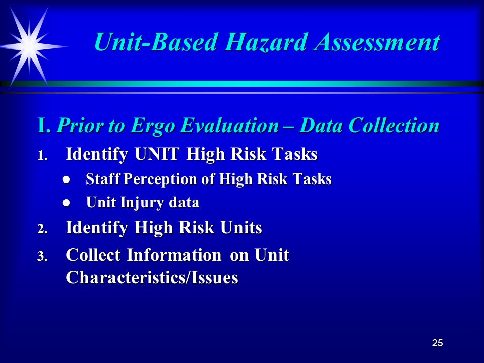 25 Unit-Based Hazard Assessment I. Prior to Ergo Evaluation – Data Collection 1. Identify UNIT High Risk Tasks l Staff Perception of High Risk Tasks l