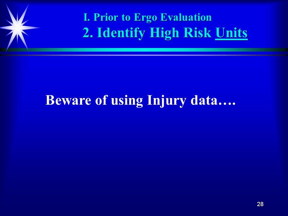 28 I. Prior to Ergo Evaluation 2. Identify High Risk Units Beware of using Injury data….