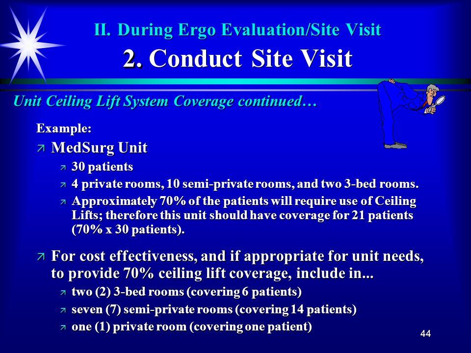 44 2. II. During Ergo Evaluation/Site Visit 2. Conduct Site Visit Unit Ceiling Lift System Coverage continued… Example: ä MedSurg Unit ä 30 patients ä