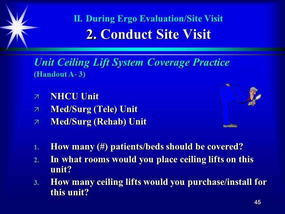 45 2. II. During Ergo Evaluation/Site Visit 2. Conduct Site Visit Unit Ceiling Lift System Coverage Practice (Handout A- 3) ä NHCU Unit ä Med/Surg (Te