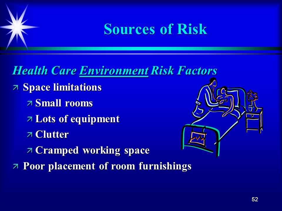 52 Sources of Risk Health Care Environment Risk Factors ä Space limitations ä Small rooms ä Lots of equipment ä Clutter ä Cramped working space ä Poor