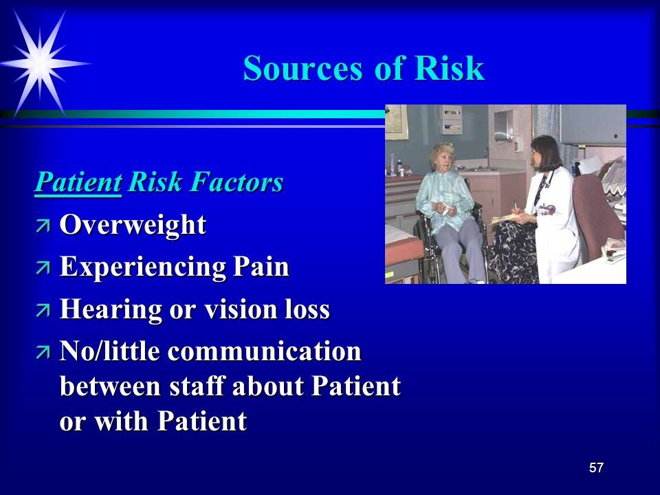 57 Sources of Risk Patient Risk Factors ä Overweight ä Experiencing Pain ä Hearing or vision loss ä No/little communication between staff about Patien